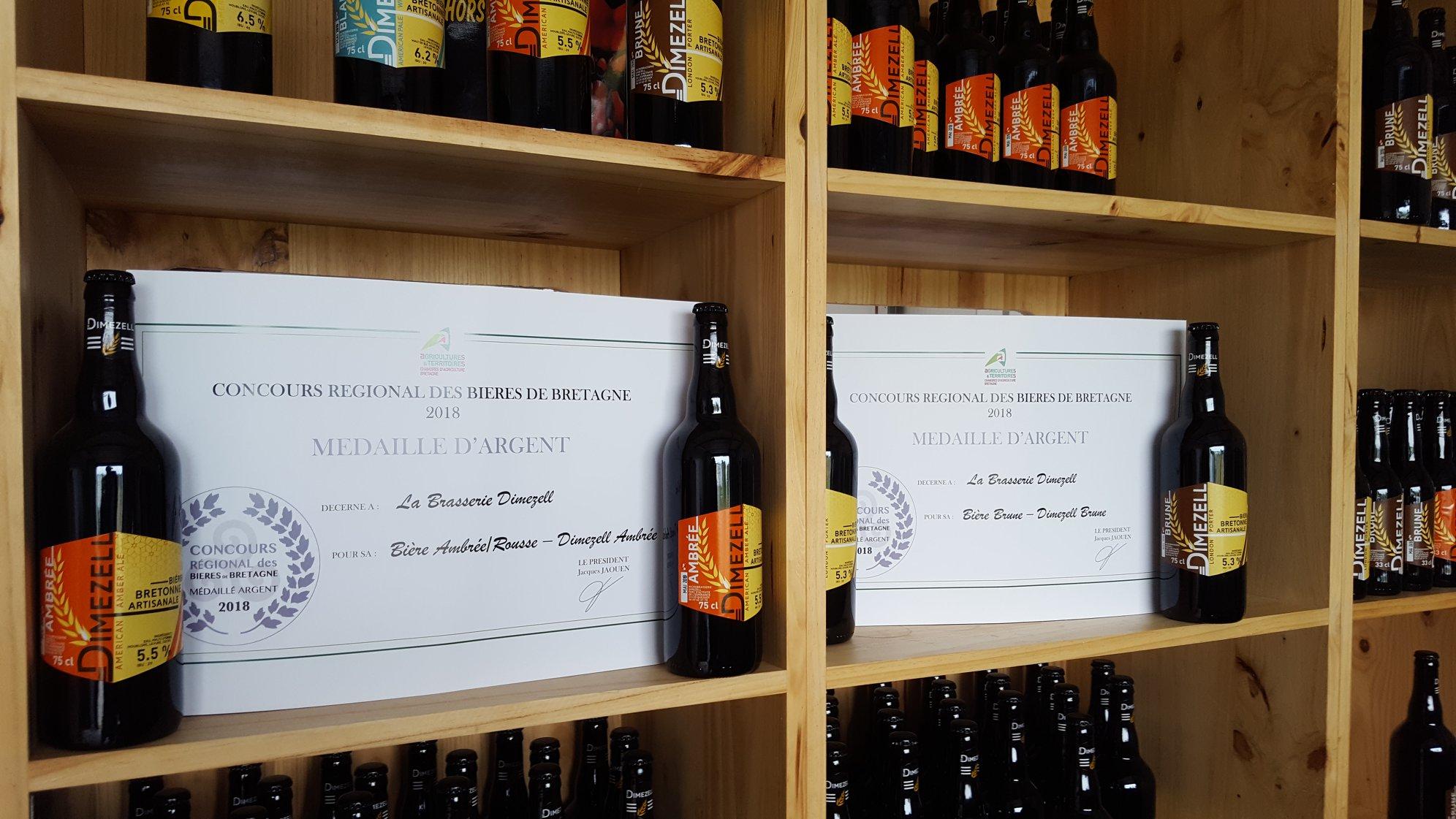 Brasserie Dimezell deux médailles d'argent au Concours Régional des Bières de Bretagne 2018